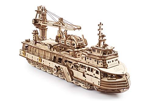 UGEARS maquetas para Construir para Adultos - Puzzle 3D Buque de investigación Modelo mecánico -...