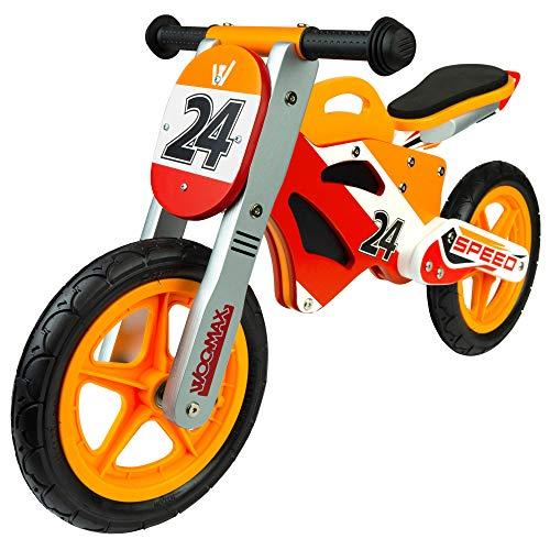 WOOMAX - Bici sin pedales madera, puños de goma, bicicleta iniciación niños, bici sin pedales...