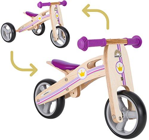 BIKESTAR 2 in 1 Bicicleta sin Pedales Madera para niños y niñas Bici Ajustable 7 Pulgadas  ...