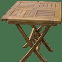 Mesa cuadrada de madera para exterior, jardines, terrazas o balcones. DeMadera.casa.